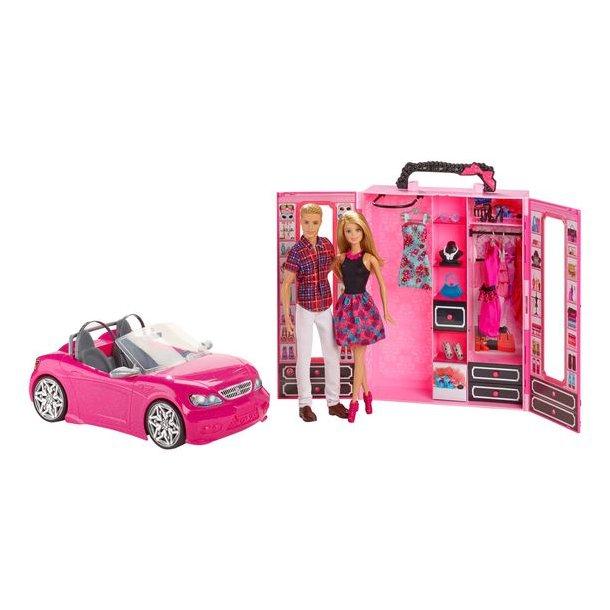 Barbie - Dukker Med Tøjskab Og Bil