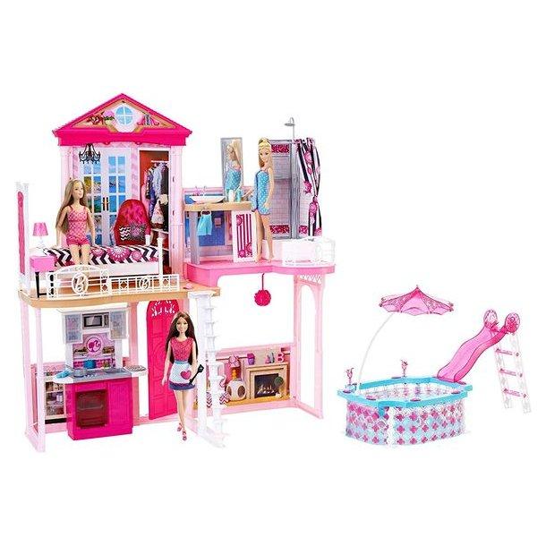 Barbie - Stort Hus Med Tilbehør